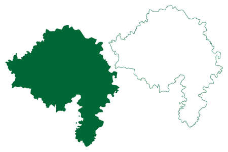 Bhind district (Madhya Pradesh State, Chambal division, Republic of India) map vector illustration, scribble sketch Bhind map Vectores