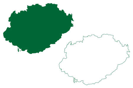Gwalior district (Madhya Pradesh State, division, Republic of India) map vector illustration, scribble sketch Gwalior map