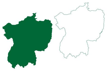 Jhabua district (Madhya Pradesh State, Indore division, Republic of India) map vector illustration, scribble sketch Jhabua map