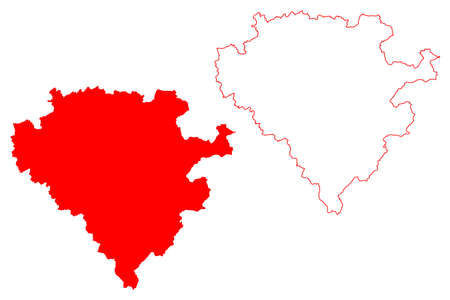 Arnsberg region (Federal Republic of Germany, State of North Rhine-Westphalia, NRW, Landschaftsverband Westfalen-Lippe) map vector illustration, scribble sketch Arnsberg map