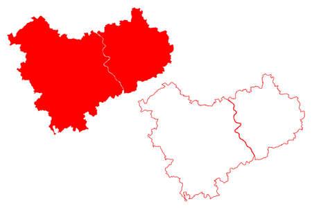Cologne region (Federal Republic of Germany, State of North Rhine-Westphalia, NRW, Landschaftsverband Rhineland) map vector illustration, scribble sketch Koln map