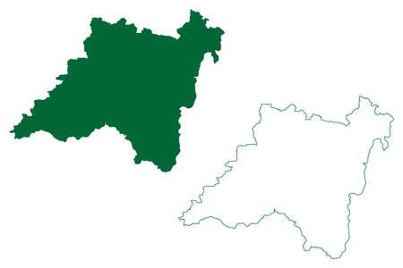 Balaghat district (Madhya Pradesh State, Jabalpur division, Republic of India) map vector illustration, scribble sketch Balaghat map