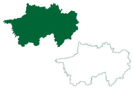 Narsinghpur district (Madhya Pradesh State, Jabalpur division, Republic of India) map vector illustration, scribble sketch Narsinghpur map