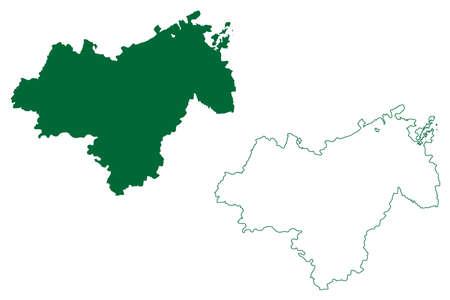 Katni district (Madhya Pradesh State, Jabalpur division, Republic of India) map vector illustration, scribble sketch Katni map