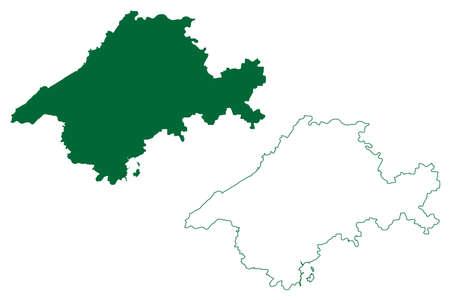 Jabalpur district (Madhya Pradesh State, Jabalpur division, Republic of India) map vector illustration, scribble sketch map 矢量图像