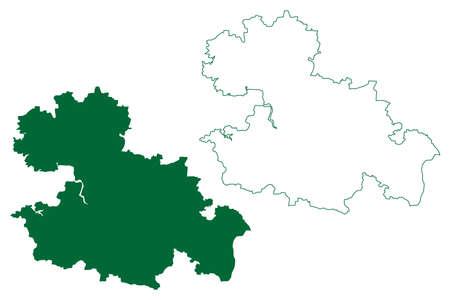 Mandla district (Madhya Pradesh State, Jabalpur division, Republic of India) map vector illustration, scribble sketch Mandla map