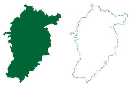 Seoni district (Madhya Pradesh State, Jabalpur division, Republic of India) map vector illustration, scribble sketch Seoni map 矢量图像