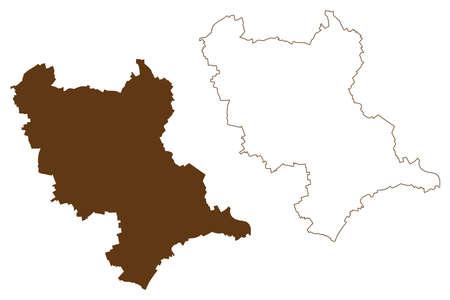 Rhein-Erft-Kreis district (Federal Republic of Germany, State of North Rhine-Westphalia, NRW, Cologne region) map vector illustration, scribble sketch Rhein Erft Kreis map 矢量图像