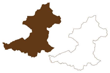 Borken district (Federal Republic of Germany, State of North Rhine-Westphalia, NRW, Munster region) map vector illustration, scribble sketch Borken map
