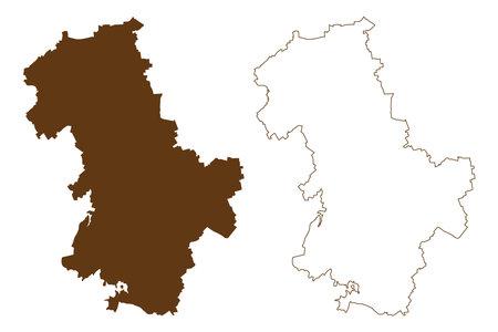 Duren district (Federal Republic of Germany, State of North Rhine-Westphalia, NRW, Cologne region) map vector illustration, scribble sketch Duren map 矢量图像