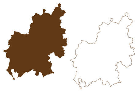 Euskirchen district (Federal Republic of Germany, State of North Rhine-Westphalia, NRW, Cologne region) map vector illustration, scribble sketch Euskirchen map