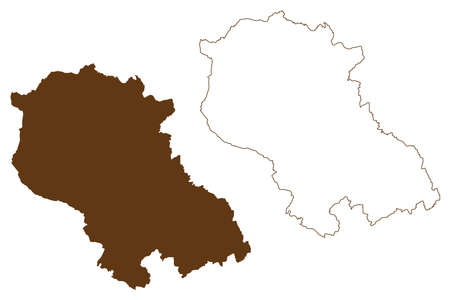 Coesfeld district (Federal Republic of Germany, State of North Rhine-Westphalia, NRW, Munster region) map vector illustration, scribble sketch Coesfeld map
