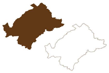 Heinsberg district (Federal Republic of Germany, State of North Rhine-Westphalia, NRW, Cologne region) map vector illustration, scribble sketch Heinsberg map 矢量图像