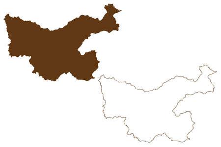 Hochsauerlandkreis district (Federal Republic of Germany, State of North Rhine-Westphalia, NRW, Arnsberg region) map vector illustration, scribble sketch Hochsauerlandkreis map 矢量图像