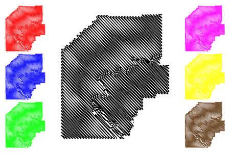 Venango County, Commonwealth of Pennsylvania (US county, United States of America, USA, US, US) map vector illustration, scribble sketch Venango map