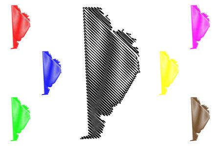 Wayne County, Commonwealth of Pennsylvania (US county, United States of America, USA, US, US) map vector illustration, scribble sketch Wayne map 矢量图像