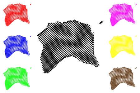 Lobata District (Democratic Republic of Sao Tome and Principe, Saint Thomas and Prince) map vector illustration, scribble sketch Lobata map 일러스트