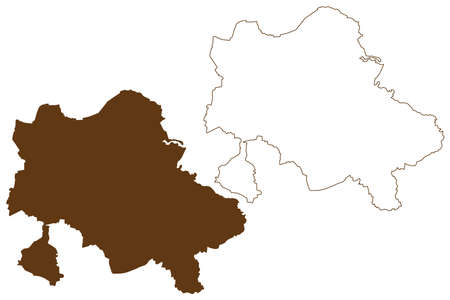 Recklinghausen district (Federal Republic of Germany, State of North Rhine-Westphalia, NRW, Munster region) map vector illustration, scribble sketch Recklinghausen map