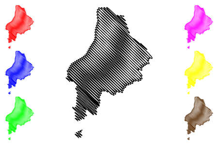 Caue District (Democratic Republic of Sao Tome and Principe, Saint Thomas and Prince) map vector illustration, scribble sketch Caue map 일러스트