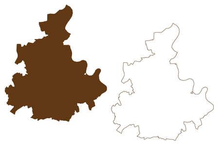 Rhein-Kreis Neuss district (Federal Republic of Germany, State of North Rhine-Westphalia, NRW, Dusseldorf region) map vector illustration, scribble sketch Rhein Kreis Neuss map