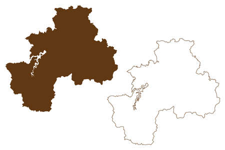 Olpe district (Federal Republic of Germany, State of North Rhine-Westphalia, NRW, Arnsberg region) map vector illustration, scribble sketch Olpe map