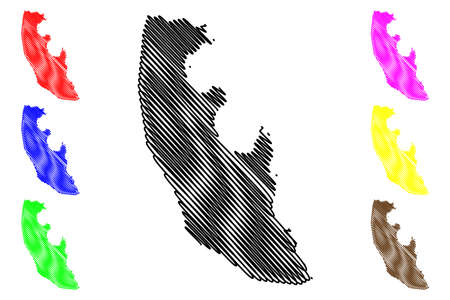 Agua Grande District (Democratic Republic of Sao Tome and Principe, Saint Thomas and Prince) map vector illustration, scribble sketch Agua Grande map Vector Illustration