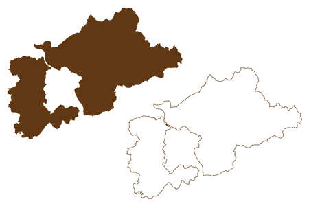 Rhein-Sieg district (Federal Republic of Germany, State of North Rhine-Westphalia, NRW, Cologne region) map vector illustration, scribble sketch Rhein Sieg Kreis map