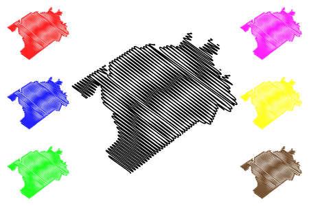 Darlington County, State of South Carolina (US county, United States of America, USA, US, US) map vector illustration, scribble sketch Darlington map 일러스트