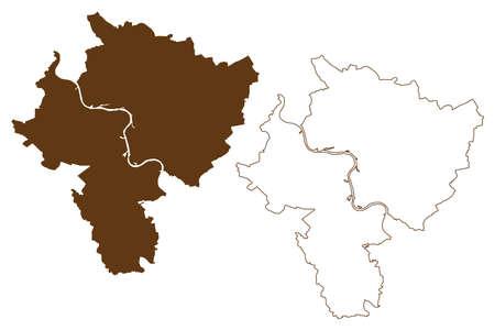 Wesel district (Federal Republic of Germany, State of North Rhine-Westphalia, NRW, Dusseldorf region) map vector illustration, scribble sketch Wesel map 일러스트