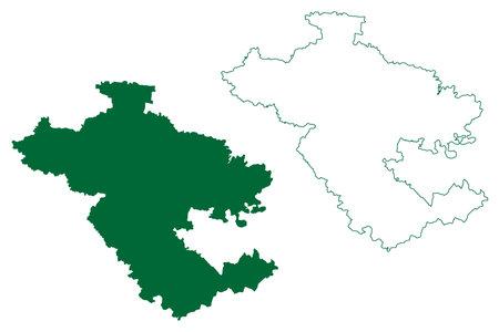 Ahmednagar district (Maharashtra State, Nashik Division, Republic of India) map vector illustration, scribble sketch Ahmednagar map 일러스트