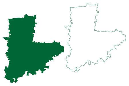 Akola district (Maharashtra State, Amravati Division, Republic of India) map vector illustration, scribble sketch Akola map 일러스트