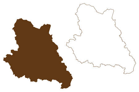 Warendorf district (Federal Republic of Germany, State of North Rhine-Westphalia, NRW, Munster region) map vector illustration, scribble sketch Warendorf map