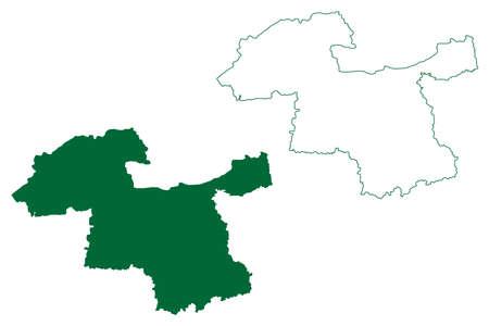 Amravati district (Maharashtra State, Republic of India) map vector illustration, scribble sketch Amravati map
