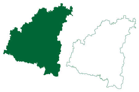 Aurangabad district (Maharashtra State, Aurangabad Division, Republic of India) map vector illustration, scribble sketch map
