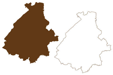 Birkenfeld district (Federal Republic of Germany, State of Rhineland-Palatinate) map vector illustration, scribble sketch Birkenfeld map