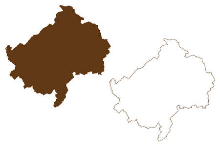 Bad Kreuznach district (Federal Republic of Germany, State of Rhineland-Palatinate) map vector illustration, scribble sketch Bad Kreuznach map 일러스트