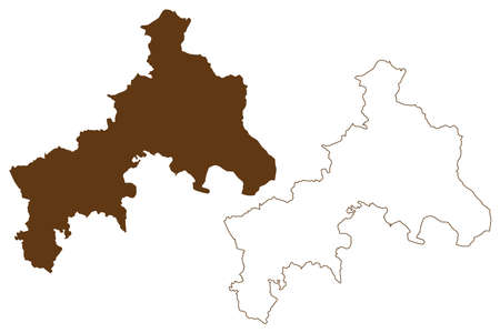 Altenkirchen district (Federal Republic of Germany, State of Rhineland-Palatinate) map vector illustration, scribble sketch Westerwald map