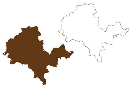 Alzey-Worms district (Federal Republic of Germany, State of Rhineland-Palatinate) map vector illustration, scribble sketch Alzey Worms map