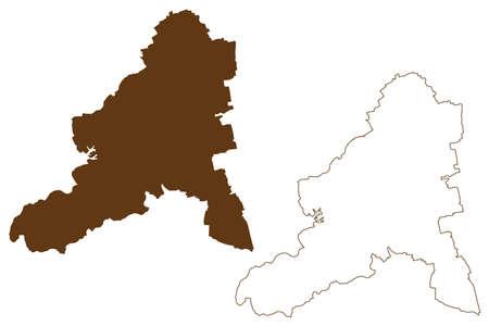 Bad Durkheim district (Federal Republic of Germany, State of Rhineland-Palatinate) map vector illustration, scribble sketch Bad Durkheim map