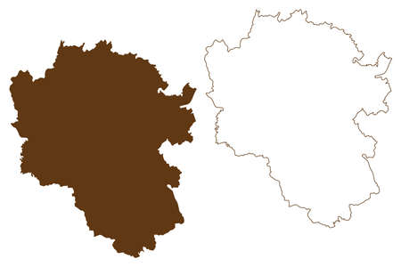 Cochem-Zell district (Federal Republic of Germany, State of Rhineland-Palatinate) map vector illustration, scribble sketch Cochem Zell map