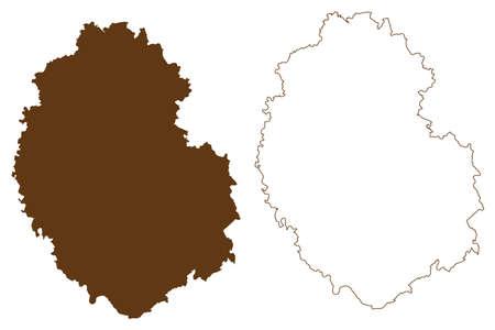 Bitburg-Prum district (Federal Republic of Germany, State of Rhineland-Palatinate) map vector illustration, scribble sketch Eifelkreis Bitburg Prum map