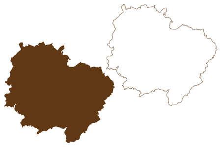 Donnersbergkreis district (Federal Republic of Germany, State of Rhineland-Palatinate) map vector illustration, scribble sketch Donnersbergkreis map