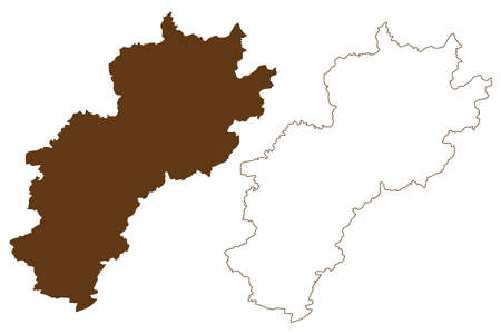 Kusel district (Federal Republic of Germany, State of Rhineland-Palatinate) map vector illustration, scribble sketch Kusel map 일러스트