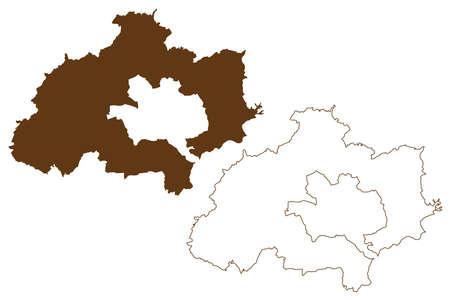 Kaiserslautern district (Federal Republic of Germany, State of Rhineland-Palatinate) map vector illustration, scribble sketch Kaiserslautern map 일러스트