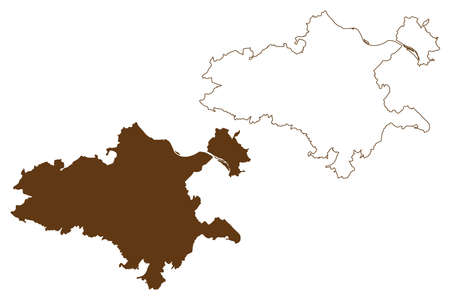 Mayen-Koblenz district (Federal Republic of Germany, State of Rhineland-Palatinate) map vector illustration, scribble sketch Mayen Koblenz map
