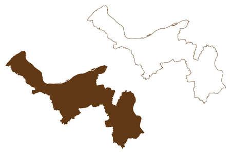 Mainz-Bingen district (Federal Republic of Germany, State of Rhineland-Palatinate) map vector illustration, scribble sketch Mainz Bingen map 일러스트