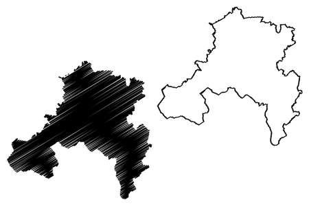 Saarbrucken district (Federal Republic of Germany, State of Saarland, Rural district) map vector illustration, scribble sketch Regionalverband Saarbruecken map