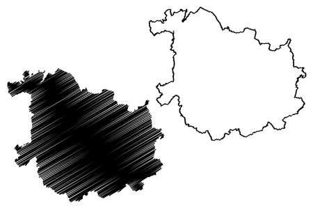 Sankt Wendel district (Federal Republic of Germany, State of Saarland, Rural district) map vector illustration, scribble sketch Sankt Wendel map