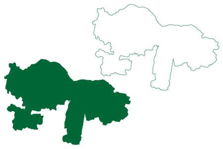 Karur district (Tamil Nadu State, Republic of India) map vector illustration, scribble sketch Karur map Ilustração