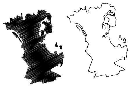 Schwerin city (Federal Republic of Germany, Urban district, State of Mecklenburg-Vorpommern, Western Pomerania or West) map vector illustration, scribble sketch Schwerin map Ilustração
